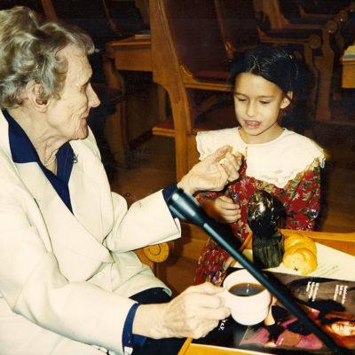 Astrid Lindgren (1994) bei der Verleihung des Right Livelihood Award